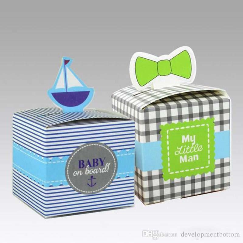 Baby Shower Candy Box Creative Sailboat Gift Wedding Box Square High Quality Decorative Gift Boxes For Baby Boy Showers Favors