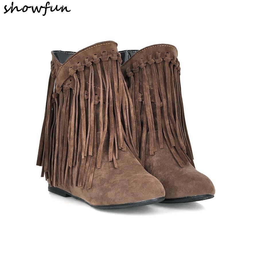 c15703456d416 4 Farbe plus Größe 33-43 Frauen Fransen Stiefeletten Flock Herbst Winter  warm Plüsch kurze Stiefeletten hochwertige bequeme Schuhe