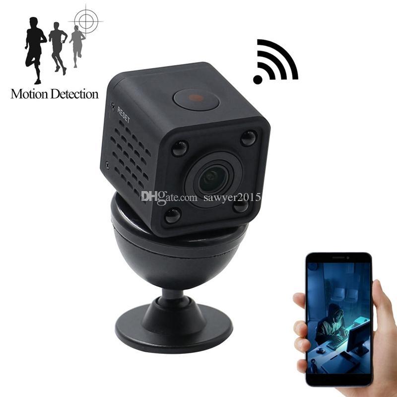 WiFi sans fil Mini caméscope mini caméra de poche HD 1080P HD Caméras numériques portables DV enregistreur 120 degrés Afficher la caméra HDQ9