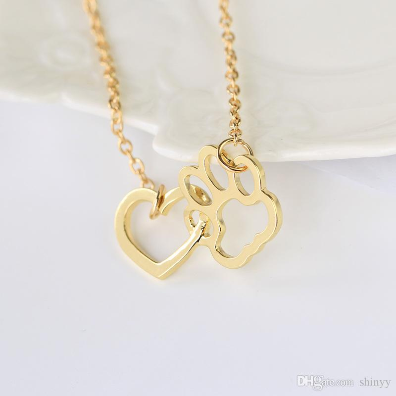Moda Kolye Tatlı Köpek Paw Kalp Kolye Kolye Gümüş Altın Alaşım Kısa Kolye Kadınlar Hediye Için