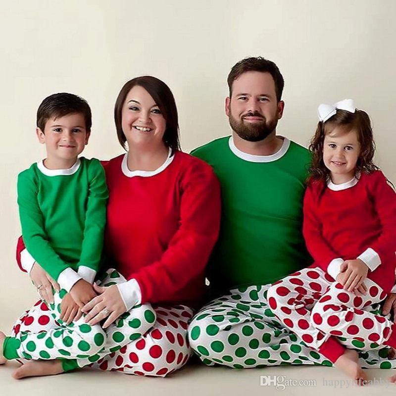 63e759ea3c Christmas Polka Dot Pajamas O Neck Family Christmas Pajamas Set Christmas  Red Dot Plain Nightgown Shirt Set 6 People Halloween Costumes Halloween  Themes For ...