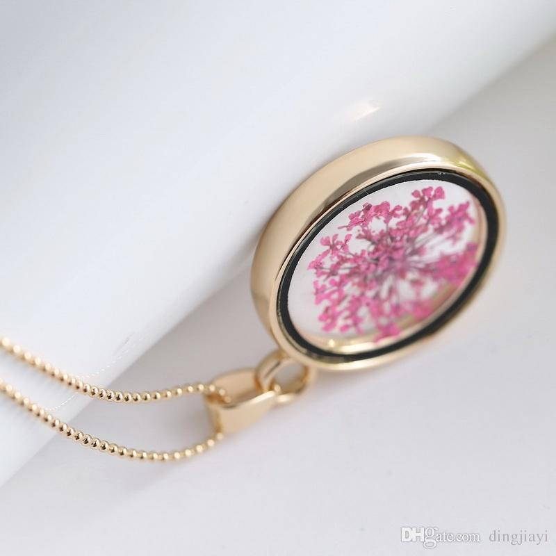 Collar romántico de moda flores secas púrpuras de oro collar de declaración de cadena larga collares joyería fina para mujeres niñas accesorios