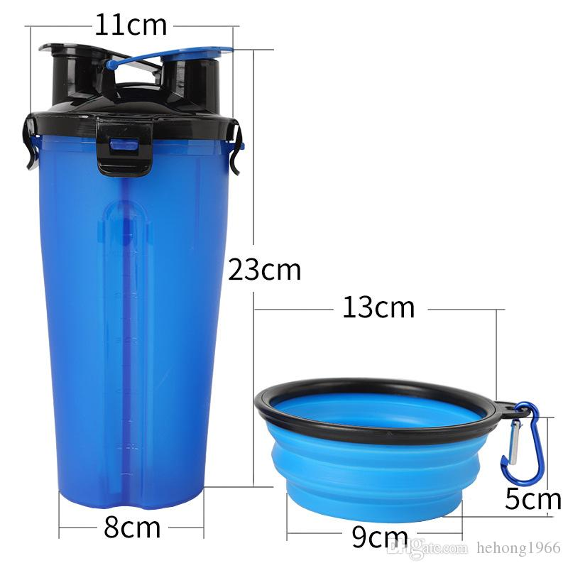Practical Dual Use Dog Food Water Bottles With Collapsible Bowl For Outdoor Walk Pets Portable Half Separate Creative Feeders 18 62tt Z