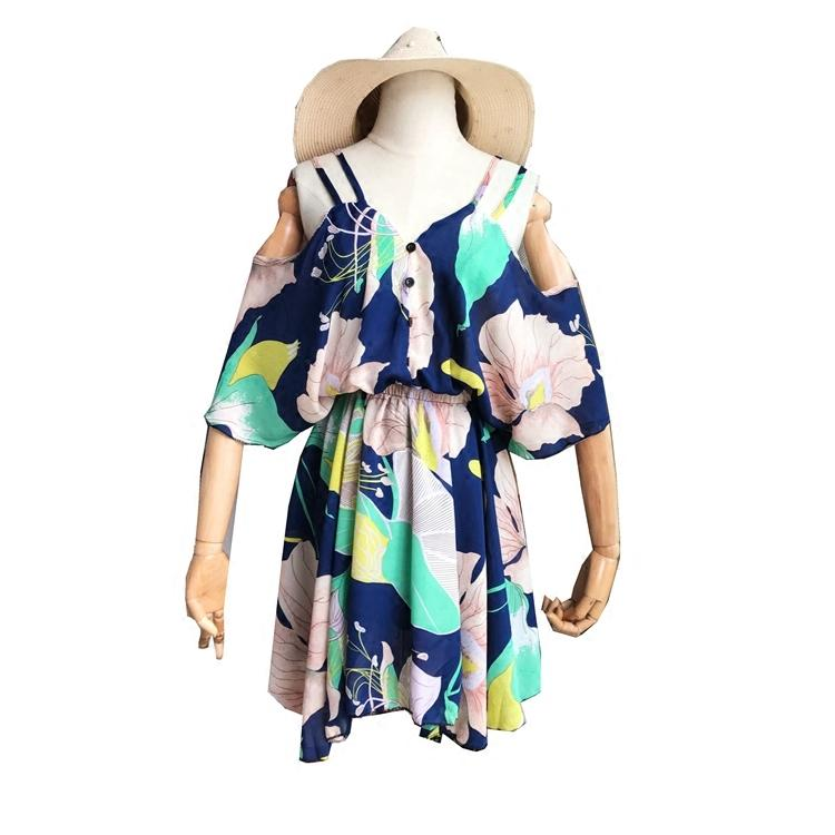 1df67788e11b 2018 Summer Fashion V Neck Chiffon Dress Women Sexy Strapless Strap Print  Short Beach Dress With Best Seller Long Sleeve Casual Dresses For Juniors  ...