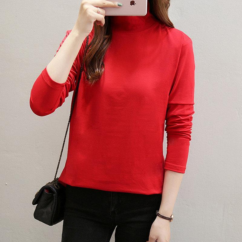 f7a665db4 2019 2018 Winter New Fashion Black White Red Tshirt Women Casual Long Sleeve  Female Tops Tess Turtleneck Women T Shirts Plus Size From Angelyanyan, ...