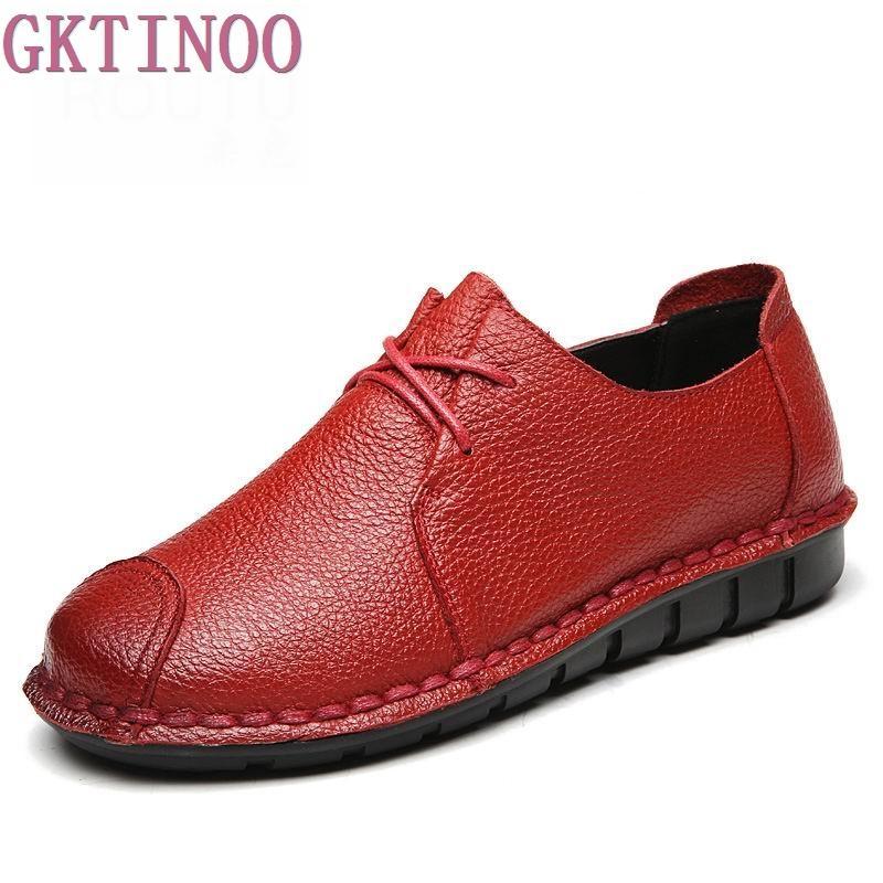 Suave Planos De Suela Hechos Mano Genuino Vintage Mocasines Casual Cuero Zapatos Femeninos A Mujer 6Igbf7vmYy