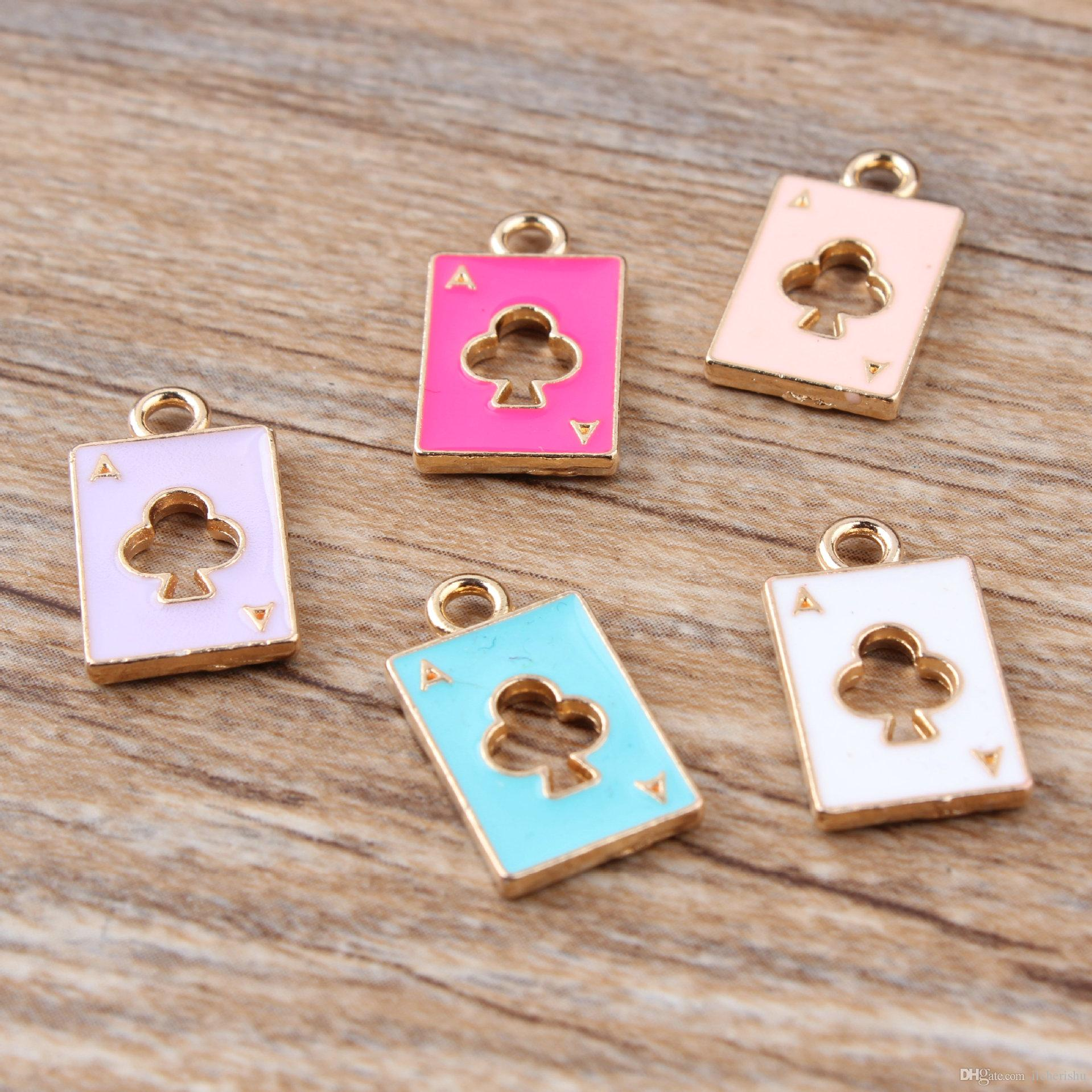 11*18MM Alice in wonderland fashion KC gold enamel playing card charms alloy small bracelet poker pendant metal dangle diy jewelry making
