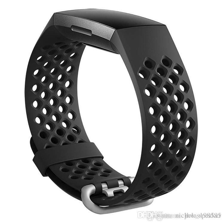 2018 Hole Waterproof Breathable Soft Silicone Watch Band Strap Bracelet  With Adapter For Fitbit Charge 3 Smart Wearable Tracking Device