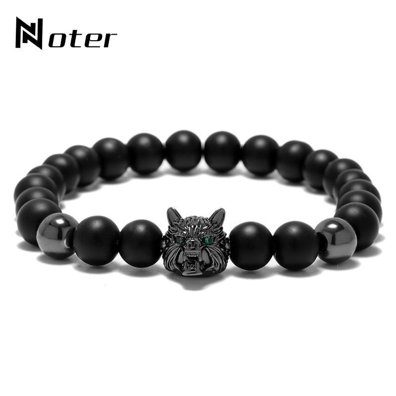 Mode Tier Wolf Armband Punk Schwarz Naturstein Perlen Braclet Für Herren Hand Schmuck Pulseira Homme