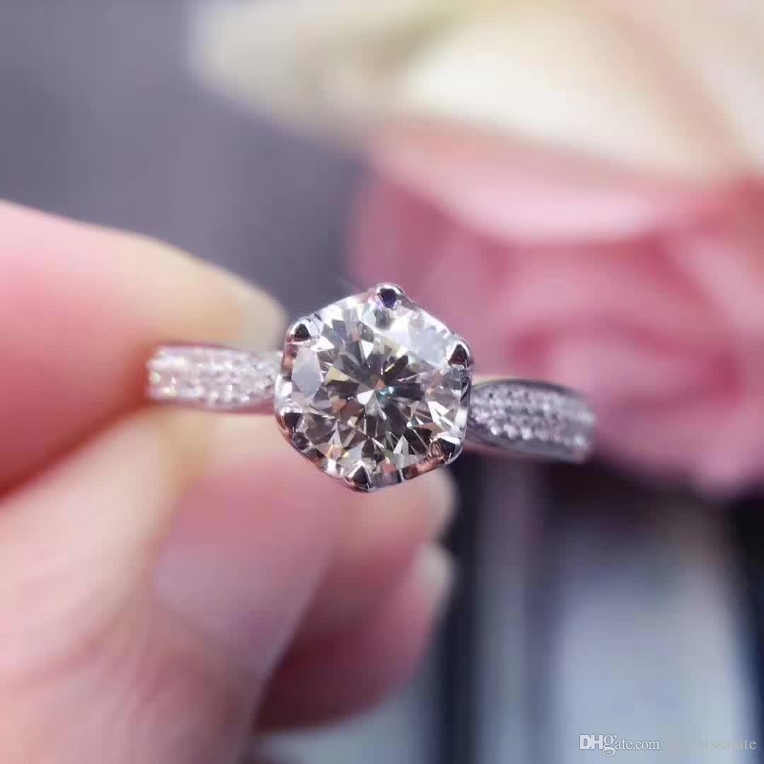 18K Gold 1Ct Fashion Engagement&Wedding Diamond Ring Moissanite Ring ...