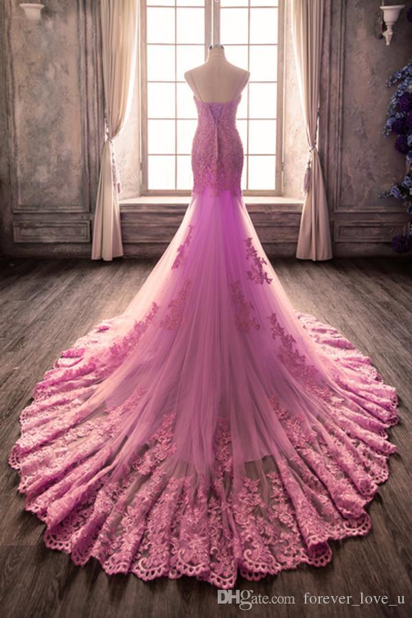Stunning 2019 Luce viola lilla sirena Abiti da sposa spalline Sweetheart parte posteriore del corsetto in pizzo Appliques Abiti da sposa Tulle