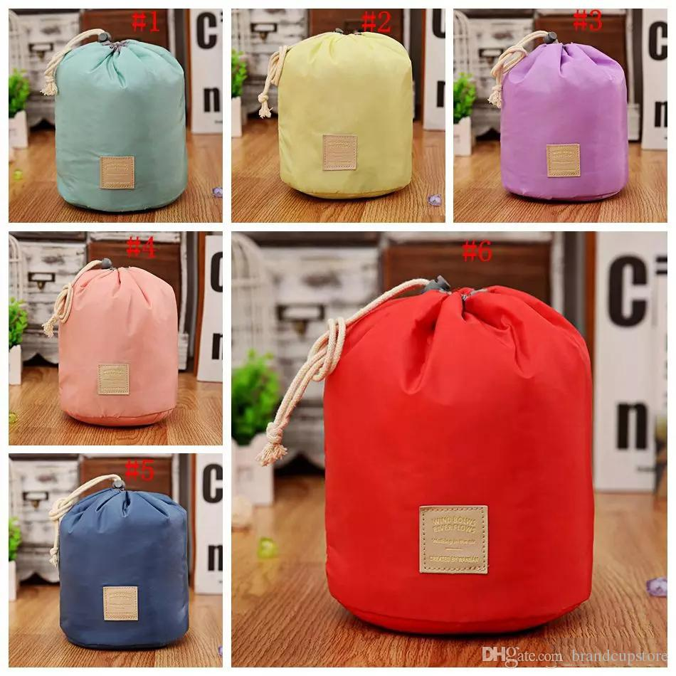 Travel Makeup Drawstring Pouch Bucket Barrel Shaped Cosmetic Bag Storage Bags Elegant Drum Wash Bags 6 Colors