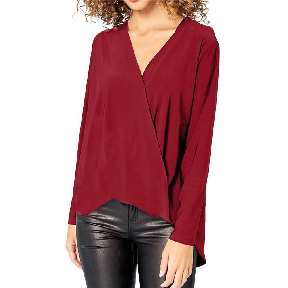 942b5edb760 Womens Tops And Blouses Autumn 2018 Streetwear Solid Long Sleeve Blouse  Woman Clothes Tunic Ladies Top Korean Fashion Clothing Blouses   Shirts  Cheap ...