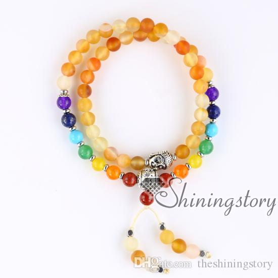 54 mala bracelet natural rough Amethyst mala beads wholesale tibetan prayer beads bracelet meditation jewelry japa malas