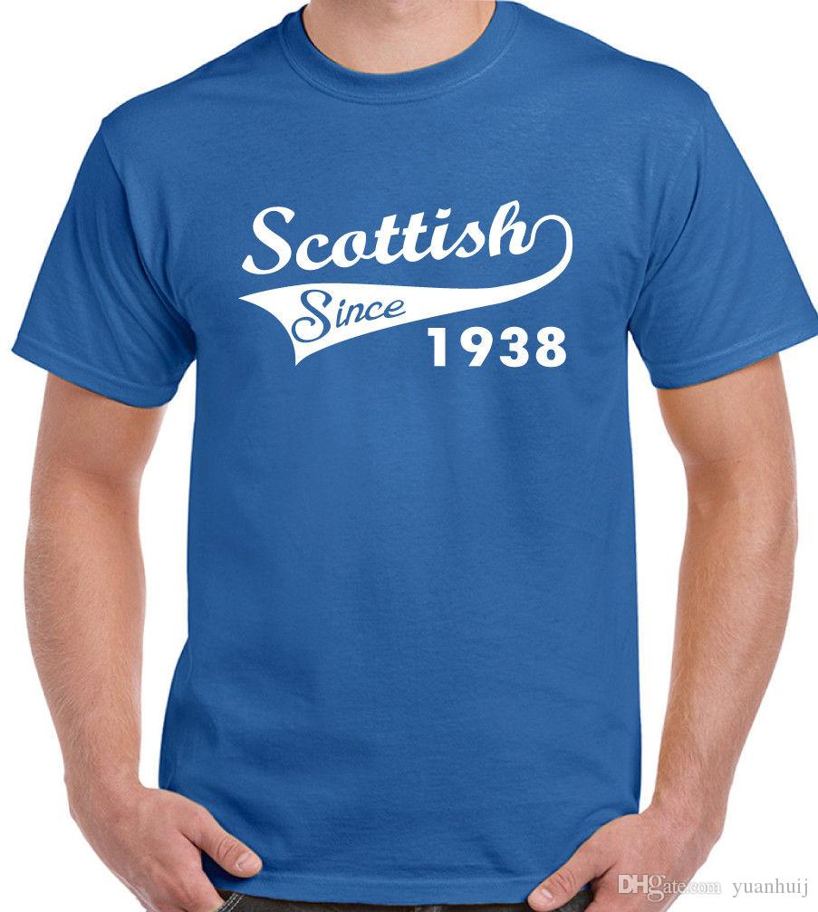 Scottish Since 1938 Mens Funny 80th Birthday T Shirt Rugby Football Flag Buy Design Tee From Yuanhuij 1118