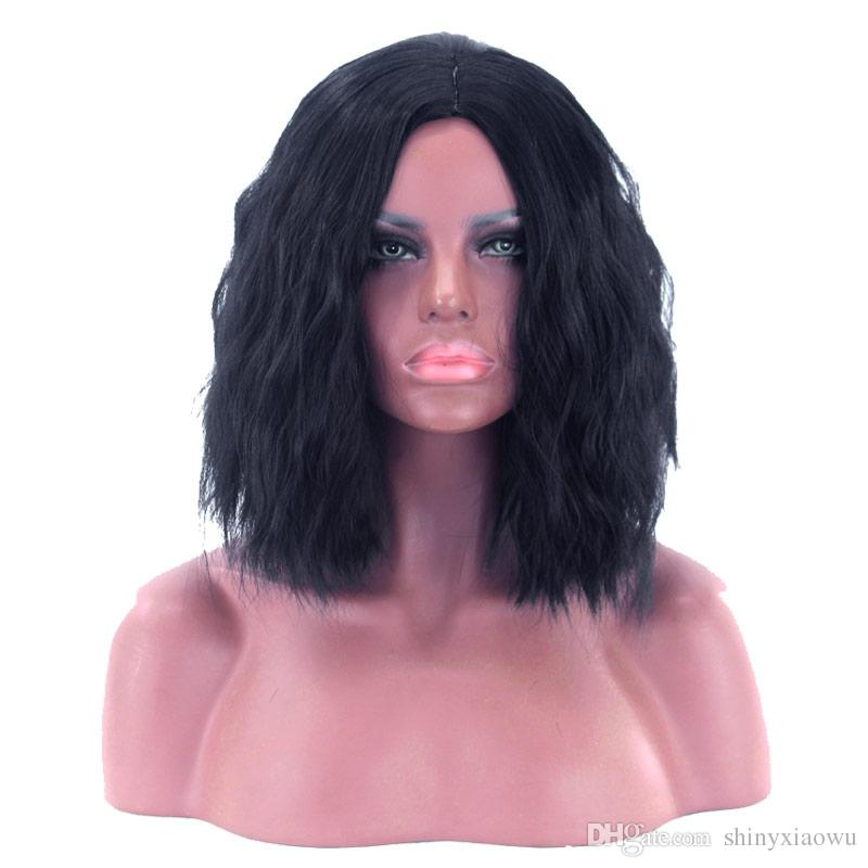 BLACK Medium Center Parting Shaggy Natural Wavy Synthetic Wig Essential wig Prepare goods quickly Worth having 237514101