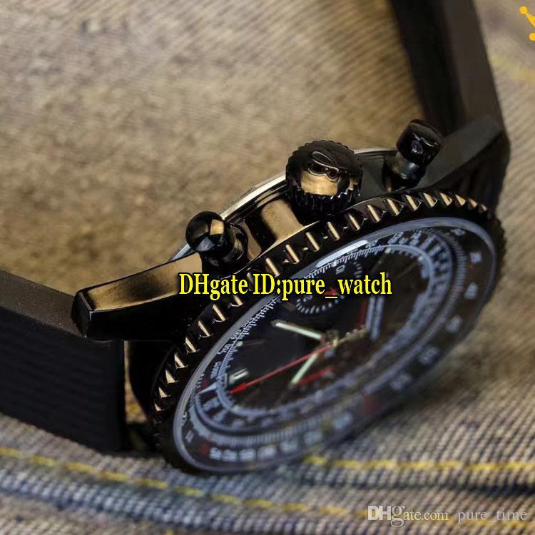 Navitimer 01 PVD Siyah 43mm MB0128AN Siyah Kadran Japonya Kuvars Chronograph Mens Watch Kauçuk Kayış Kronometre Yüksek Kalite Spor Saatler
