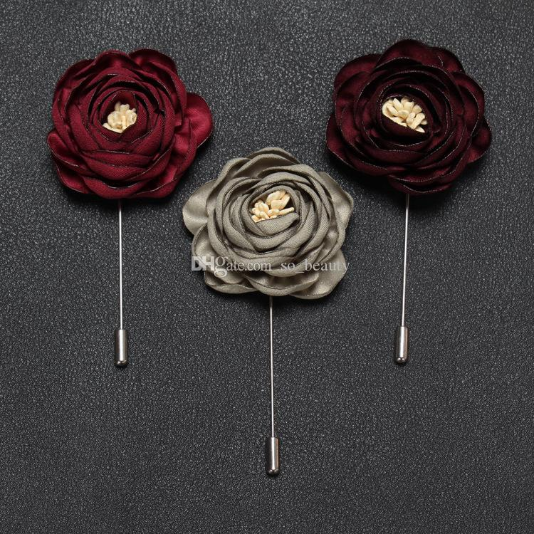 Rose Corsage Groom Brooch Pin Man Wedding Flowers Boutonniere Prom Tuxedo Party Accessories Decorations EI-072 Multi colors for choice