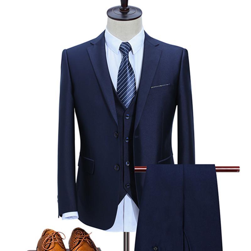 532f3a23116 Jacket+Vest+Pants   Men s Business Suit Casual High Quality Single ...