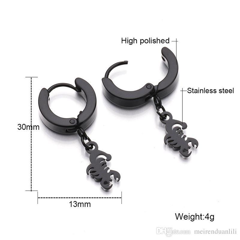 Fashion Cool Scorpion Hoop Earrings 316L Stainless Steel Drop Earrings Designer Earrings for Women Men Never Fading Biker Jewelry Luxury