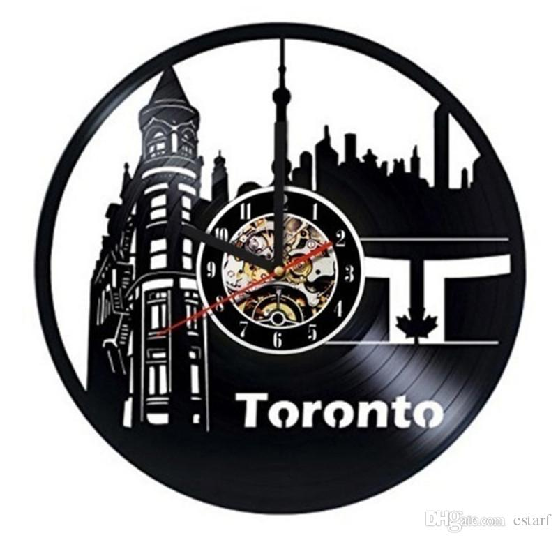 canada toronto vinyl wall clock modern home decoration crafts