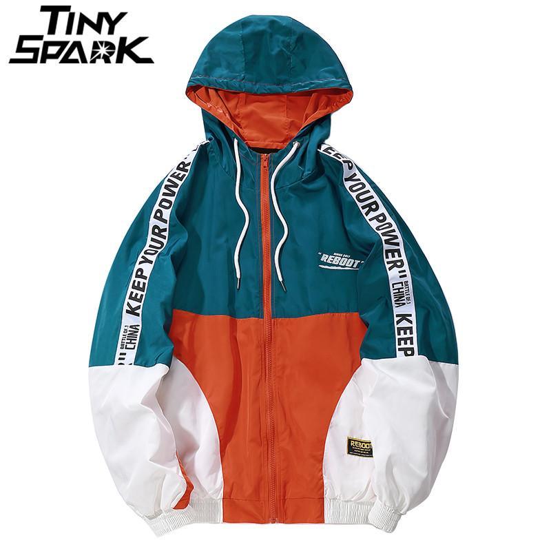 5503e38ac36 Hip Hop Mens Hooded Windbreaker Jacket Autumn 2018 Casual Vintage Color  Block Loose Track Hoodie Jacket Coats Streetwear HipHop Fluffy Leather  Jacket Blue ...