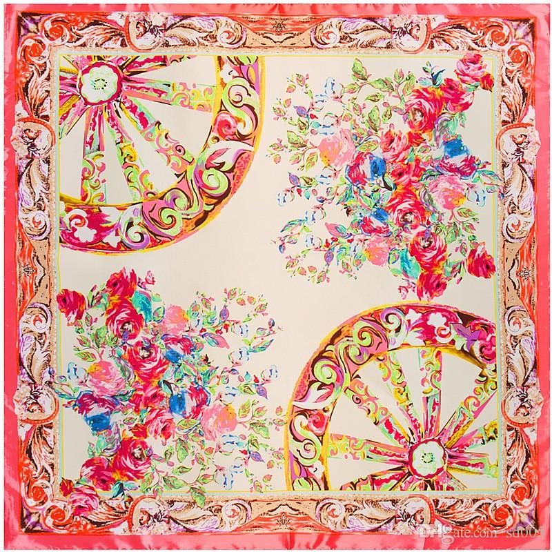 90cm 90cm Square Silk Scarf Print Wheel Flowers Pattern Muslim Headscarf  For Women Soft Comfortable Scarves High Quality 7pr BB Summer Scarves Scarf  Ring ... 4447a2e5421