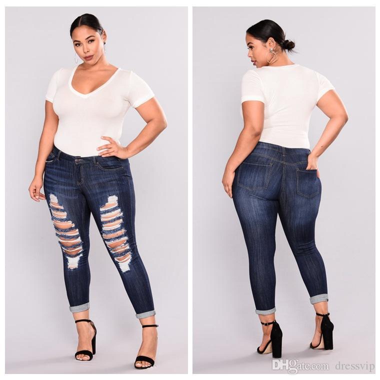 a36c0dc5487 Plus Size Ladies Stretch Ripped Sexy Skinny Jeans Womens High Waisted Slim  Fit Denim Pants Slim Denim Straight Biker Skinny 2XL 7XL Wedding Bridal ...
