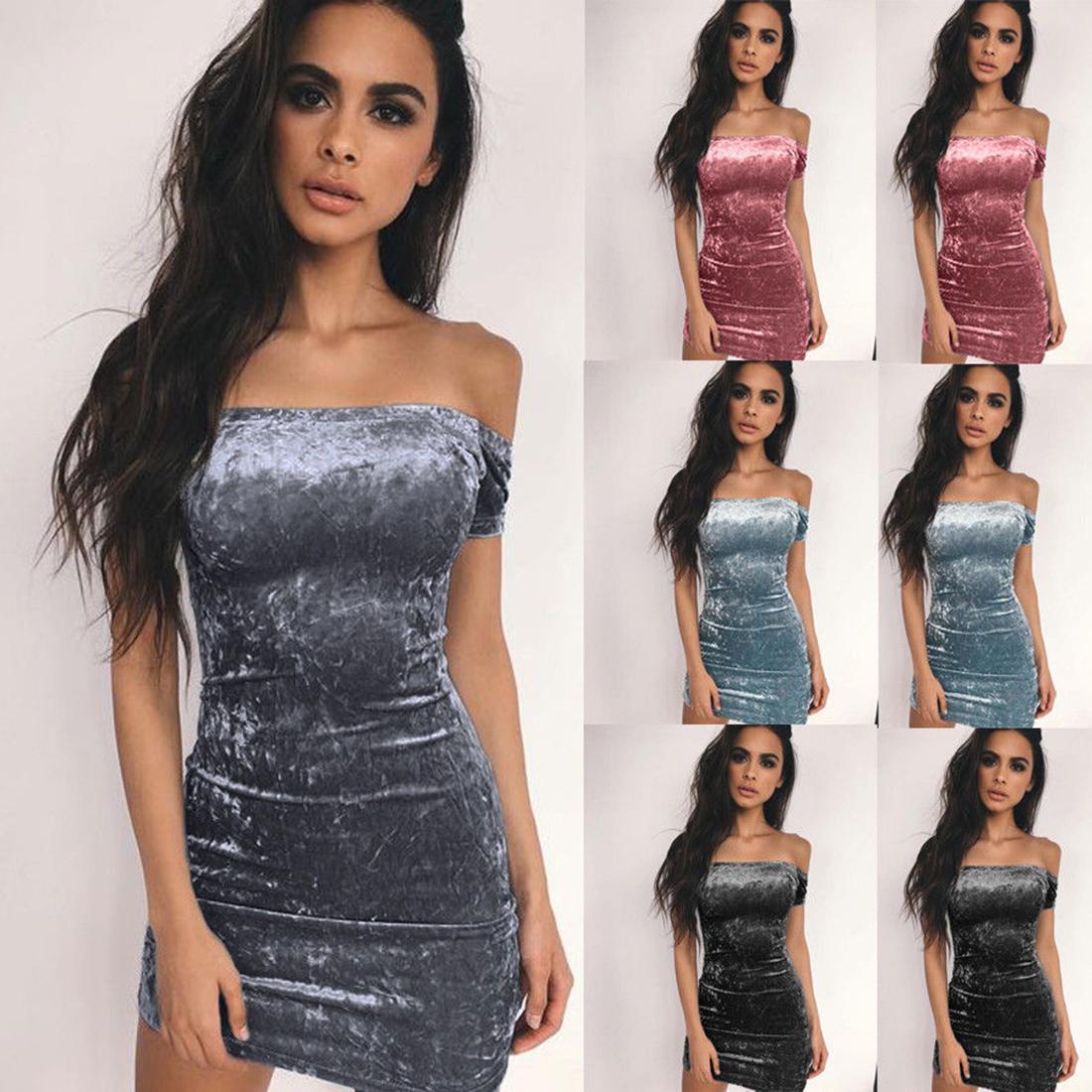 5aba42445f2 Acheter 2019 Sexy Épaule Robe Courte Femmes Doux Velours Nuit Robes De  Soirée Mince Paquet Hanches Robe Femme Casual Mini Vestidos De  25.1 Du  Lixlon02 ...