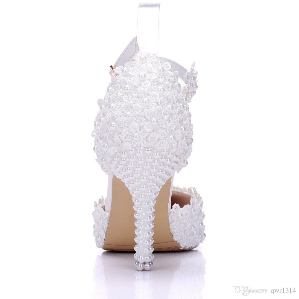 New Summer elegant pointed toe shoes for women White lace flowers high heel wedding shoes thick heels Beautiful pearls Plus Size Shoes