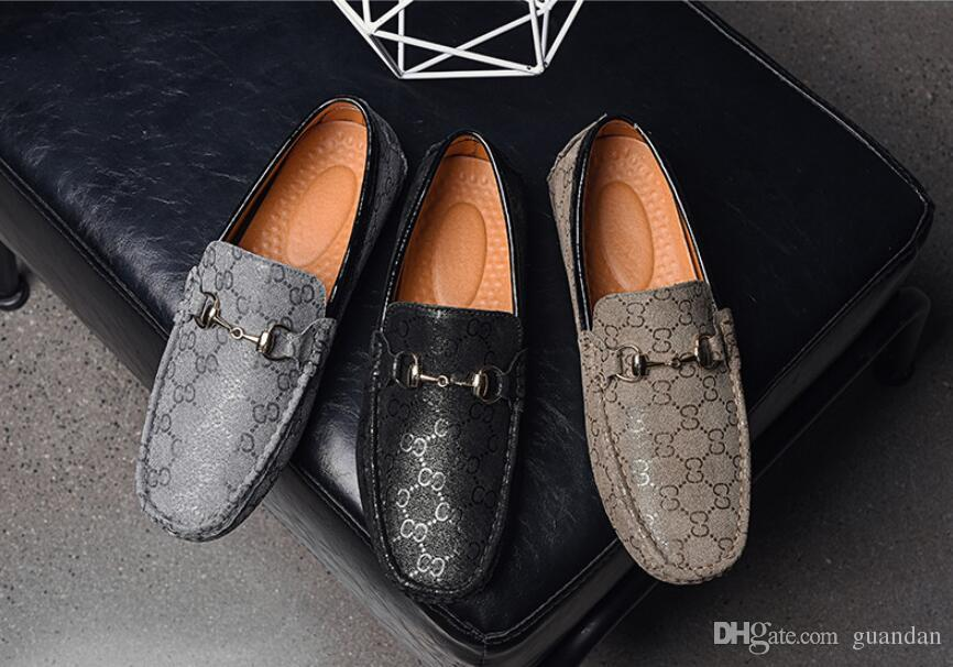 2bc4e3d8bd54e Mens Designer Penny Loafer Shoes Casual Slip On Moccasins Handmade Vintage  Italy Original Wedding Driving Shoes Male Scholl Shoes Silver High Heels  From ...
