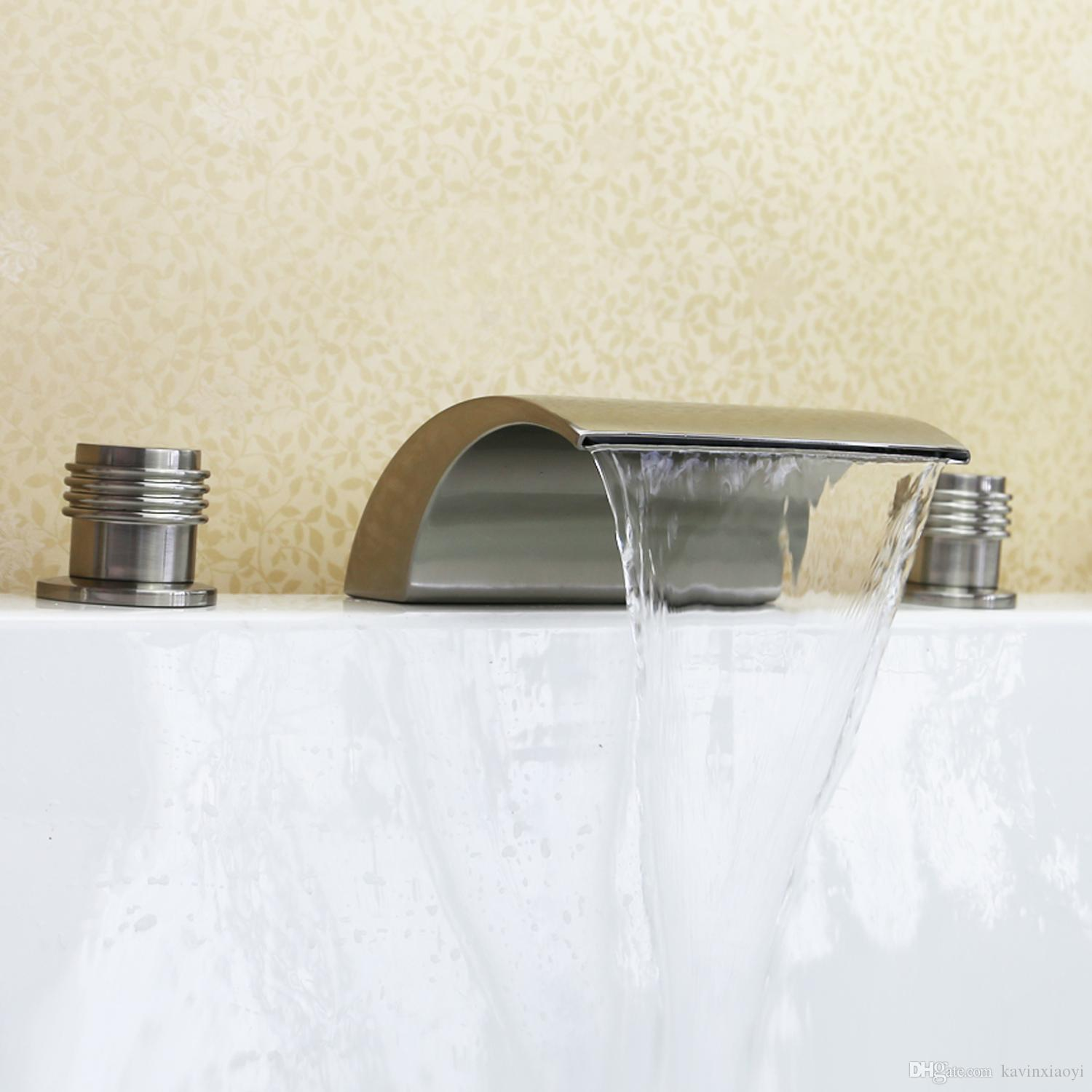Brushed Nickel Tub Waterfall Faucet Free Ship Roman Tub Bath Faucets ...