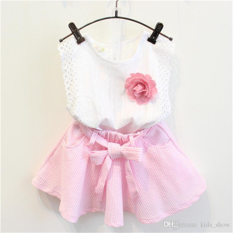 Summer Baby Girls Clothing Set Sleeveless Vest top + pink stripe Skirt 2pcs/set with belt and free flower brooch