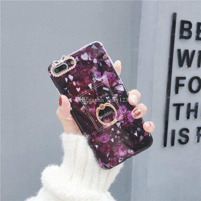 Soft TPU Housing Cover IMD Cases Phone Shell Marble Texture Case with Sparkling Ring Holder for iPhone X 6 6S 7 8 Plus