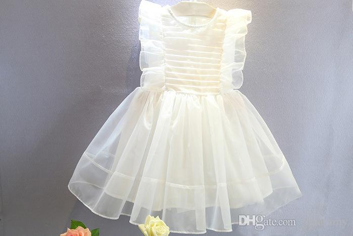 2018 summer girls princess dress sweet lovely lotus leaf super immortal dress for children white color kids boutique tutu skirts