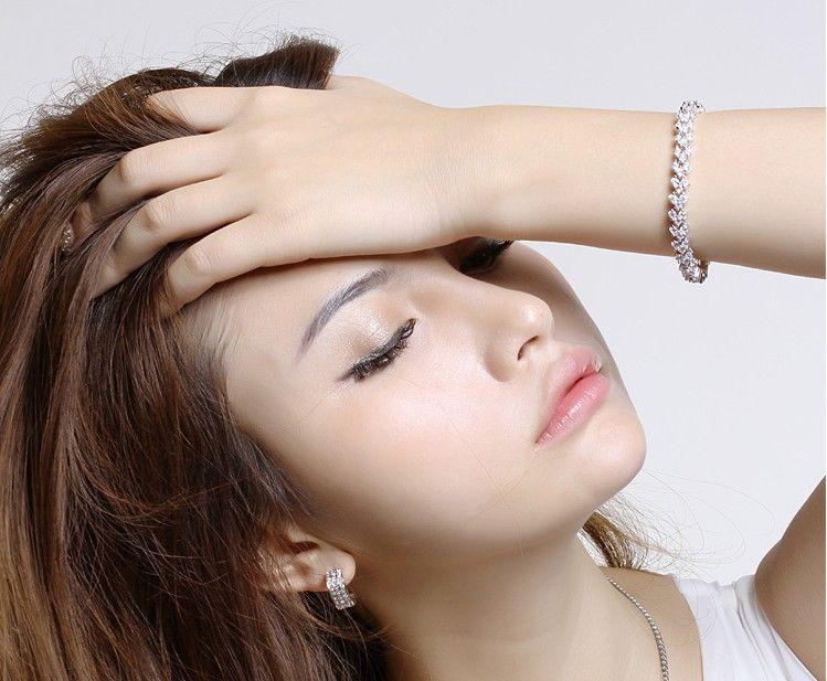 new Luxury Crystal Bracelets Genuine 925 Sterling Silver Charms Bracelet with AAA Zircon Diamond Roman Tennis bangle Christmas Gift