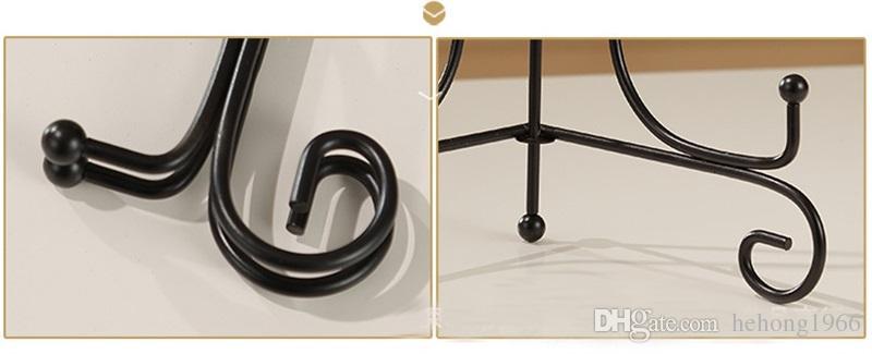 Черная краска металлического железа Колебание Кронштейн Складная Мульти Размер Показываются Подставка для керамических дисков Искусство и ремесла Сертификат Display 10as7 Z