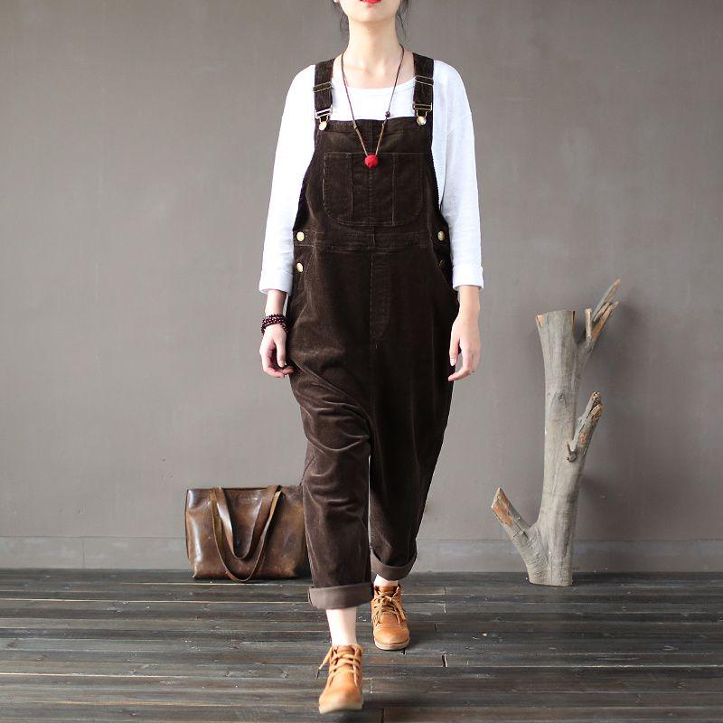 2018 Women's Original Cotton Corduroy Women Vintage Rompers Autumn Winter Loose Strap Thick Warm Pocket Jumpsuits Free Size