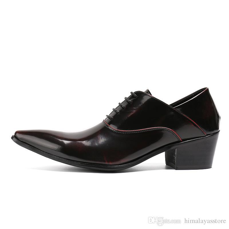 Zapatos de vestir para hombre Tacones altos Zapatos de boda de cuero Zapatos para hombre de negocios formales Oxford para el trabajo