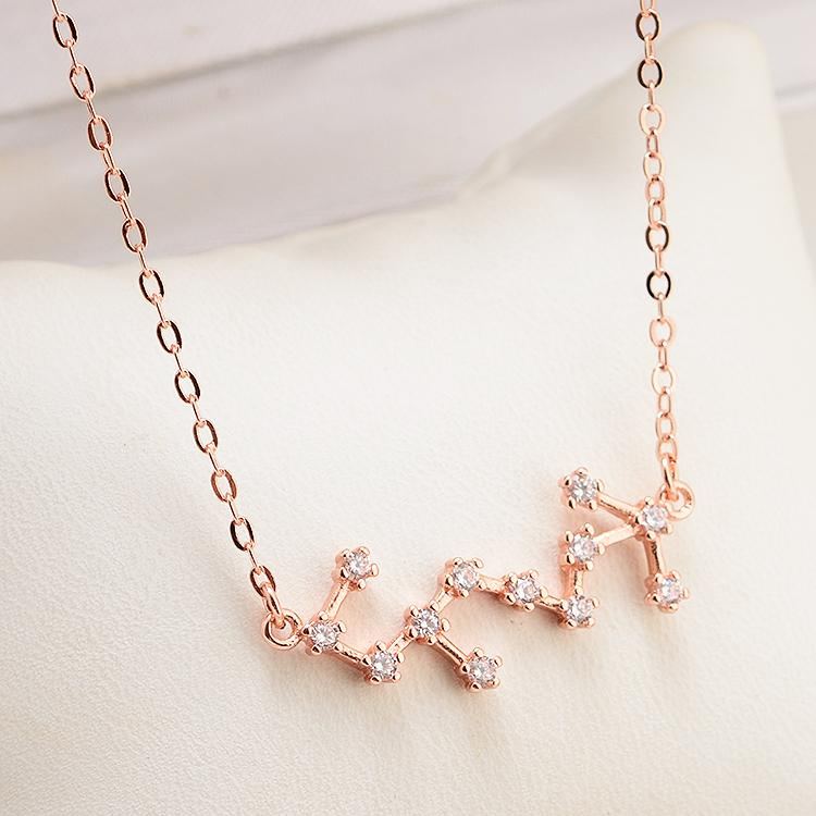 Rose Gold Scorpio 12 Star Zodiac Zircon Horoscope Astrology Galaxy  Constellation Sign Necklace Zodiac necklace Constellation
