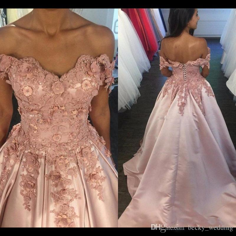 99a731a1b68 2018 Blush Pink Off Shoulder Ball Gown Prom Dresses Vestido 3D Floral  Appliques Beaded A-