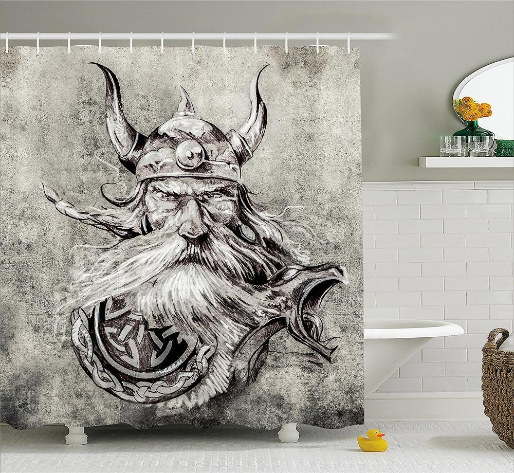 2019 Tattoo Decor Shower Curtain Artistic Pencil Drawing Of A Brave Viking Warrior With His Armour Image Fabric Bathroom Set From Dracaenor