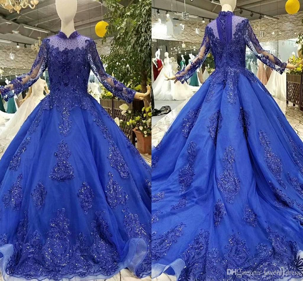 Ball Gown Long Sleeve Beaded Crystal Applique Watteau: Luxury Long Sleeve Ball Gown Prom Dresses With High Neck