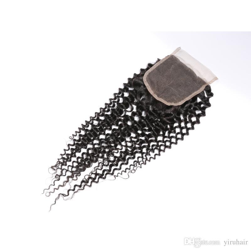 Cierre del cordón del pelo humano indio 4x4 con el pelo del bebé Cierre del cordón rizado rizado de 8-20 pulgadas Parte media libre de tres partes