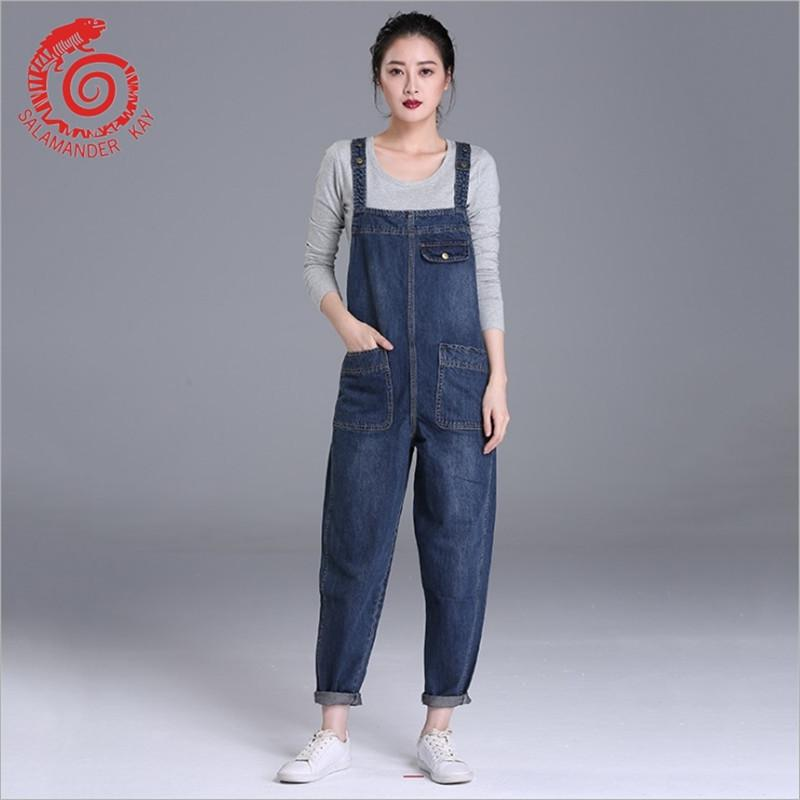 f79aa8993817 2019 European Style Boyfriend Women Denim Overalls High Waist Straps Jumpsuit  Female Girl Loose Jeans Pants Plus Size S M L Xl Befree Y1891105 From ...