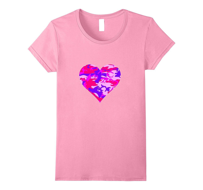 Púrpura Rojo De Camuflaje Camiseta Corazón Diseño Tops Novedad Marca Mujer Harajuku Bonito BexWdCor