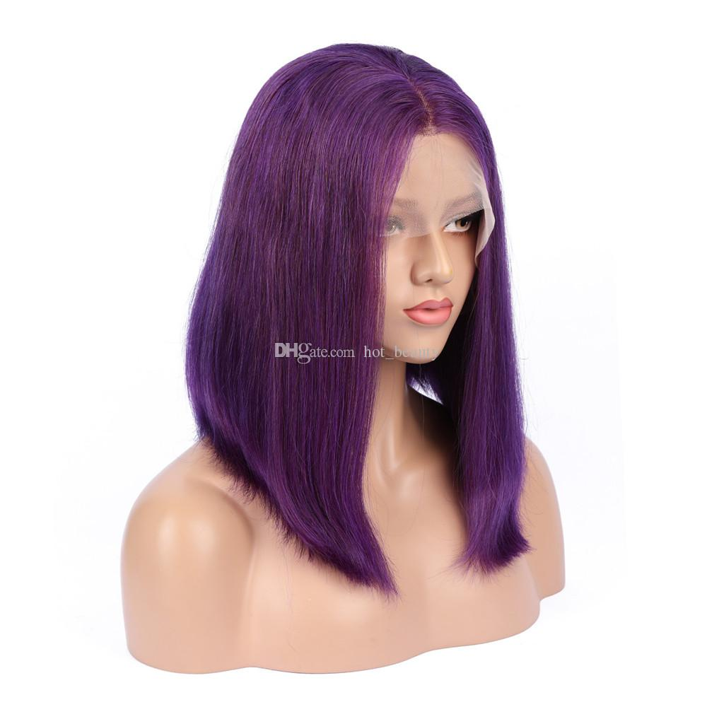 Pure Purple Human Hair Bob Lace Wigs For Black Women Straight Colored Purple  Glueless Full Lace Wig Lace Front Wigs With Baby Hair Custom Full Lace Wigs  ... 783cf460b