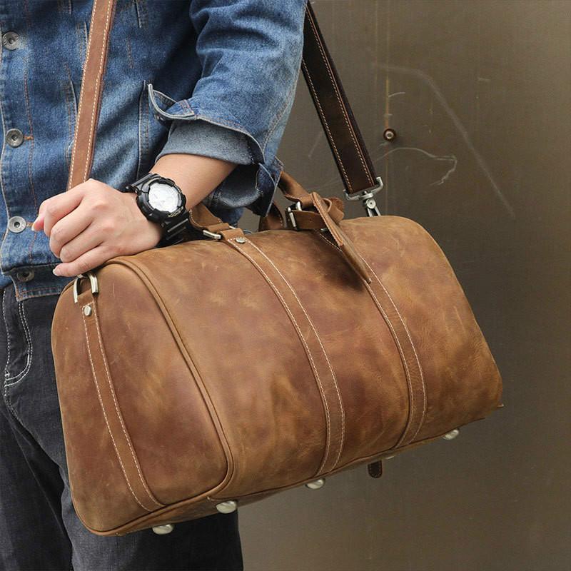 aa6e64522 Compre Bolso De Equipaje De Viaje De Cuero, Para Hombre Duffle Retro Carry  On Handbag A $219.97 Del Berchirly | DHgate.Com
