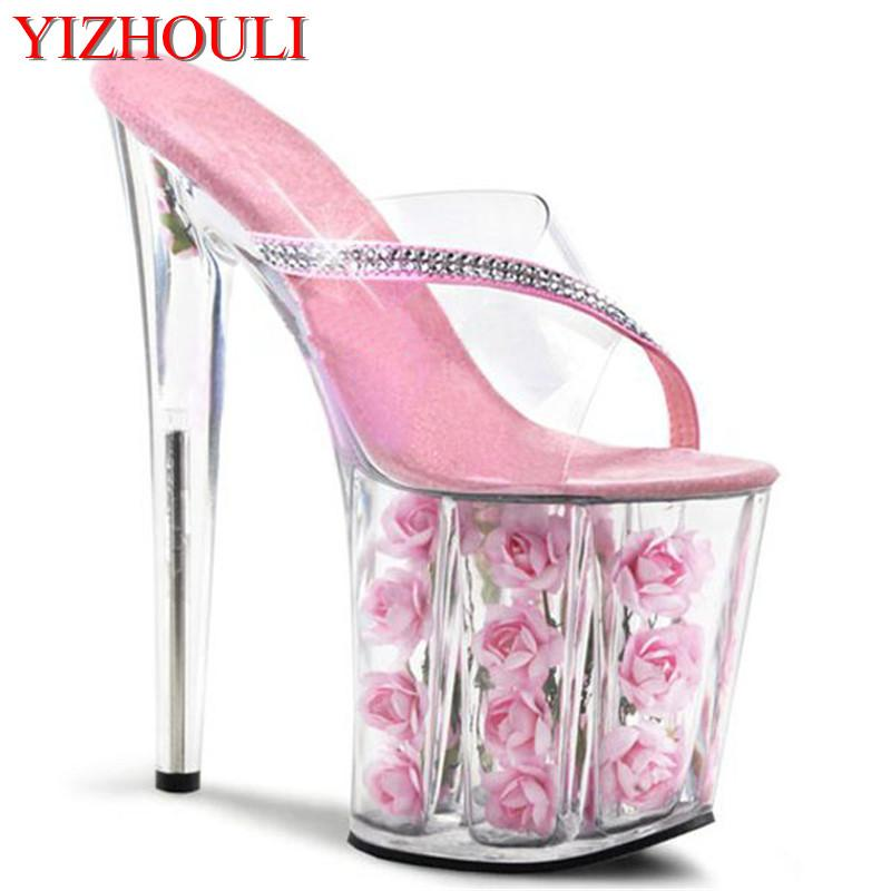 786816a36f99f Sexy Exotic Dancer Shoes 8 Inch Pink Flowers For Wedding Crystal Shoes 20cm  High-Heeled Rose Platform Women Slippers
