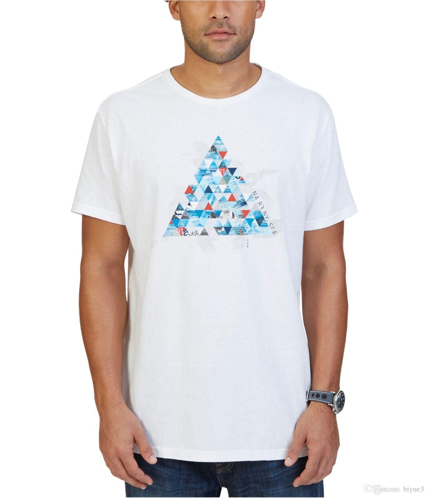 72d64276d05c4 Compre Camiseta Para Hombre Nautica Triangle Pyramid Graphic Brightwht XL A   11.78 Del Biyue3